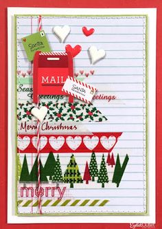 Washi Wonderland Card by Lauren Bergold; Washi Tapes, Heart Brads and Heart Enamels by Eyelet Outlet: