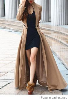 Short black dress with nude coat