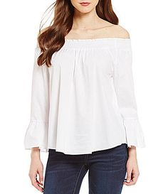 Copper Key Poplin OffTheShoulder Ruffle Smocked Neck Blouse #Dillards