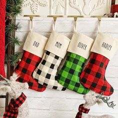 Awesome Holiday Gifts For Him - Outdoor Click Plaid Christmas Stockings, Embroidered Christmas Stockings, Valentine Gifts, Holiday Gifts, Holiday Ideas, Skinny Fonts, Black Thread, Valentines Day Decorations, Holiday Decorations