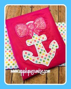 Girly Anchor Applique Design