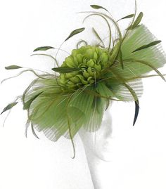 Ascot 1 Olive Green Fascinator Hat for Weddings, Kentucky Derby With Headband colours) Green Fascinator, Fascinator Headband, Hair Fascinators, Facinator Hats, Tea Party Hats, Millinery Hats, Kentucky Derby Hats, Church Hats, Fancy Hats