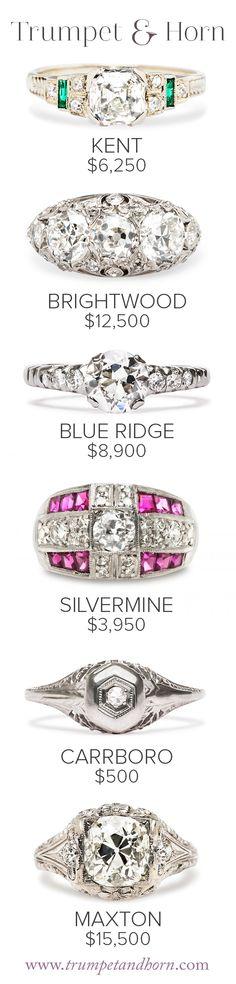 Six vintage engagement rings