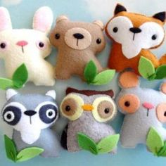 Felt Woodland Animal Set | YouCanMakeThis.com #feltanimals