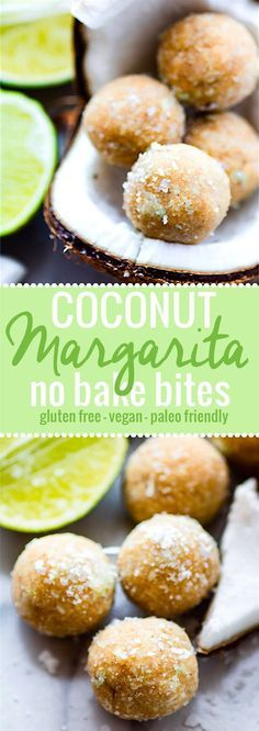 No Bake Coconut Margarita Bites! Super simple no bake coconut margarita treats in dessert bite form! These bites are naturally gluten free, paleo friendly, and vegan! Bites that actually taste like a frozen margarita with natural lime and coconut flavors. So refreshing for summer or anytime of year! @Lindsay - Cotter Crunch