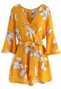 f8ea13672d24 Bold Blooms Floral Wrapped Playsuit in Yellow Floral Jumpsuit
