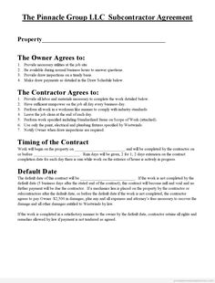 subcontractor contract samples