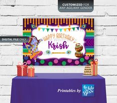 Krishna Birthday Banner / Backdrop for Birthday Boy Banner Backdrop, Birthday Backdrop, Boy Birthday, Birthday Ideas, Birthday Parties, Shower Party, Baby Shower Parties, Krishna Birthday, Cool Lego Creations