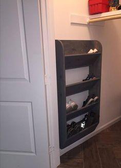 Small Closet Organization Diy Cheap Storage Ideas 33 Ideas For 2019 Shoe Storage Rack Plans, Wall Mounted Shoe Storage, Shoe Storage Solutions, Small Storage, Garage Storage, Storage Bins, Hidden Storage, Hallway Storage, Wood Storage