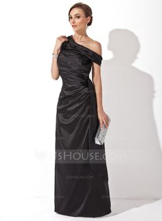 Sheath/Column Off-the-Shoulder Floor-Length Charmeuse Evening Dress With Ruffle (017025908)