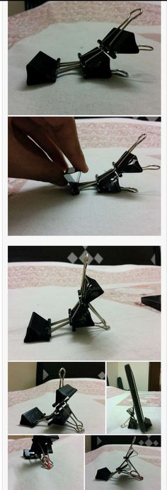 Cell phone holder from 3 binder clips!