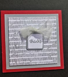 Love how this thank you cards turned out . Gina K Designs music note background stamp and Lawn Fawn Tiny tags and Tiny sayings ❤️