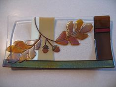 Fused Glass Oak Leaf Platter