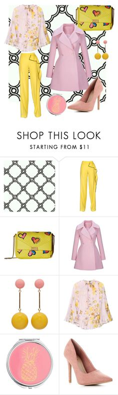 """Pink yellow pastel fun look"" by tanzworldd ❤ liked on Polyvore featuring Ballard Designs, Vionnet, Boutique Moschino, WithChic, J.W. Anderson, Giambattista Valli and Miss Selfridge"