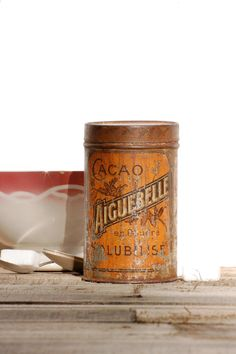 French charming metal box cacao Aiguebelle. by Frenchvintagecharm