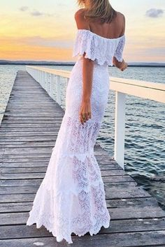 White Lace Slash Neck Maxi Dress WHITE: Lace Dresses | ZAFUL