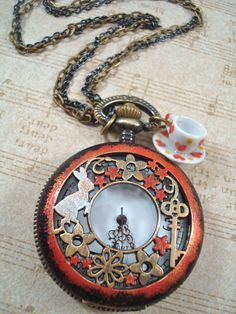 White Rabbit Alice in Wonderland Pocket Watch for Mad Hatter's Tea Party #Whimsical