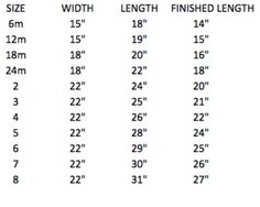 Sizing chart for pillowcase dresses, size 6months - girls 8