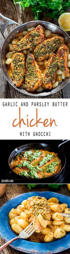 Garlic and Parsley Butter Chicken with Gnocchi - incredible tender chicken cooked in a garlic and butter creamy sauce served over a bed of gnocchi.