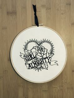 Girl almighty - embroidered art, tattoo styleheart scroll rose roses - motorcycle biker alternative gothic feminist lesbian embroidery hoop by StitchesOfAnarchy on Etsy
