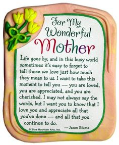 Blue Mountain Arts For My Wonderful Mother by Jason Blume Sculpted Resin Magnet Mountain Art, Blue Mountain, Mommy Quotes, Its A Wonderful Life, To Tell, Sculpting, Meant To Be, Magnets, Appreciation
