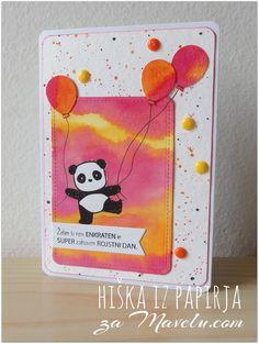 Maja S. Mama Elephant card.          Hiška iz papirja: Julijski izziv na Mavelu.com blogu