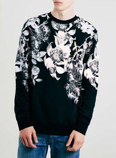 Monochrome Floral Print Sweatshirt