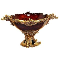 Make a lavish impression with Ridge Road Décor's Acanthus Leaf Pedestal Bowl. This opulent, Old World design pairs carved gold finish acanthus leaves supporting and twining around a mottled red amber bowl. Italian Bowl, Gold Bed, Acanthus, Red Accents, Classic Elegance, Classic Style, Gold Material, Pedestal, Red Gold