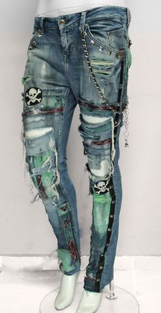 Rock denim pants with pachesstuds and skulls by NewlineRockwear