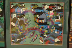 Modern Chinese school paintings, acrylic on board, each with seal lower right, approx 39cm x 59cm smaller (5)