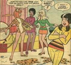 Josie and the Pussycats Dec. First comic book appearance of the classic Pussycats outfit. Josie And The Pussycats, Archie Comics, Dan Decarlo, Comic Art, Comic Books, Cartoon N, Betty And Veronica, Fandoms, Comic Panels