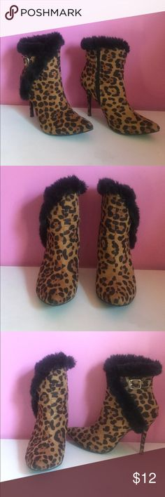 Cute Animal Print Shoes In great condition!!! Anne Michelle Shoes Ankle Boots & Booties