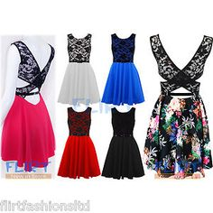 Womens Skater Dress Ladies Lace Floral Cut Cross Back Belted Pleated Skirts Tops