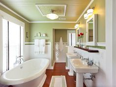 I need a huge tub like this-- DIY Network's Blog Cabin master bathroom, designed by Matt Muenster.
