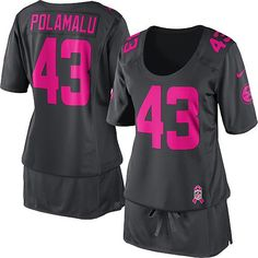 5c40dbb91 Women s Nike Pittsburgh Steelers  43 Troy Polamalu Elite Dark Grey Breast  Cancer Awareness Jersey 99.99