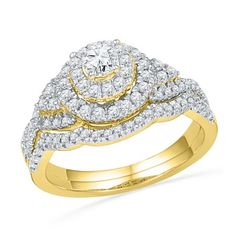 Size 7 - 10k Yellow Gold Round Diamond Double Halo Bridal Wedding Engagement Ring Band Set (3/4 Cttw) #diamondweddingbands