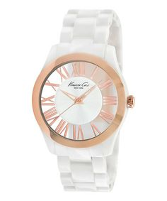 Another great find on #zulily! White & Rose Gold Roman Numeral Watch by Kenneth Cole #zulilyfinds