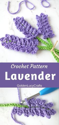 Crochet Lavender Applique Pattern - GoldenLucyCrafts