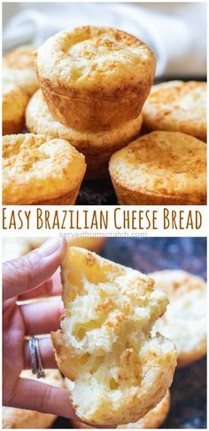 This Easy Brazilian Cheese Bread is a yeast free, gluten free bread that uses tapioca flour and only has a couple of other staple ingredients. Oat Muffins Healthy, Banana Oat Muffins, Chocolate Chip Muffins, Tapioca Flour Recipes, Brazilian Cheese Bread, Yeast Free Breads, Bread Baking, Baking Cakes, The Fresh