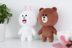 "SNS LINE FRIENDS BROWN CONY Plush Toy Stuffed Character Doll S3 7.5"" (2Types) #LINEPLUS #StuffedToy"