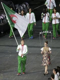 The Algerian team enter the stadium at 2012 Olympic Games opening ceremony