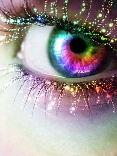 Eye Color Abstract with Glitter Eyelashes Pretty Eyes, Cool Eyes, Beautiful Eyes, Beautiful Pictures, Rainbow Eyes, Rainbow Colors, Rainbow Things, Rainbow Pastel, Murciano Art