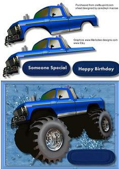 Big Big Truck in blue  on Craftsuprint - Add To Basket!