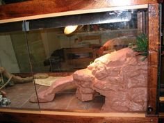 Make a Fake Rock Cave/basking Spot for a Reptile Cage.: Here I'll show you how to make a fake rock cave/basking spot for your reptile cage. This is one I've made for my Bearded Dragon, Viggo. Reptile Cage, Reptile Habitat, Reptile Enclosure, Lizard Habitat, Turtle Habitat, Terrarium Diy, Terrarium Reptile, Gecko Terrarium, Bearded Dragon Habitat