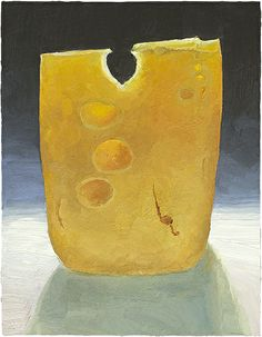 Emmental - a monument of cheese.  sold, Prints of the original painting are food painting and cheese portrait painting prints are available: http://mikegeno.com/cheese%20album/pages/Emmental2_matted_PRINT.htm
