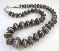 "Navajo silver ""pearl"" neclace"