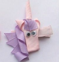UNICORN Ribbon Art Hair Clip by charminggirlz on Etsy, $3.00