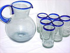 cobalt rim glassware Mexican Hacienda, Mexican Style, Southwest Decor, Southwest Style, Hacienda Homes, Glass Art, House Design, Products, Blue And White