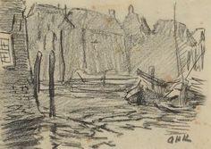 Arnold Koning - schets van een stadsgezicht met bootjes