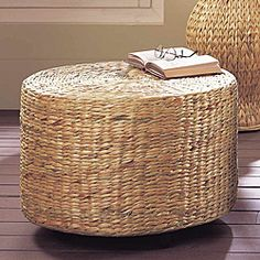 Superieur Water Hyacinth Ottoman...use As A Side Table/ottoman ?